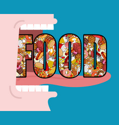 Open mouth and food absorption of feed eat many vector