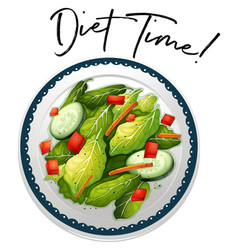 plate of salad with phrase diet time vector image