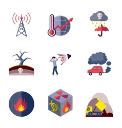 Pollution icons set flat vector