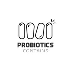 Probiotics label contains probiotic logo vector