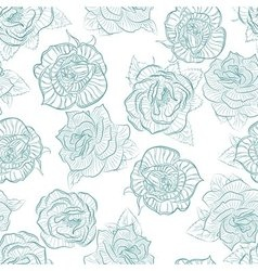 Rose seamless pattern outline vector