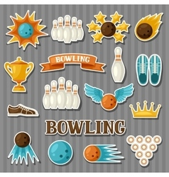 Set of bowling items Objects for decoration vector image