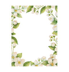 watercolor frame of flowers and branches vector image vector image