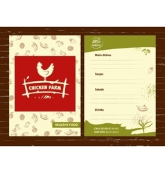 Logo hand drawn hen menu for home vector