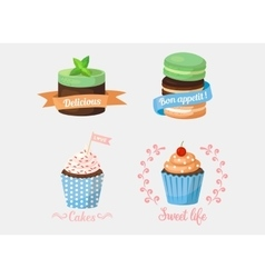 Dessert cake and sweetie cupcakes with ribbons vector