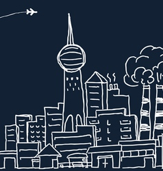 Hand-drawn modern city sketch vector image