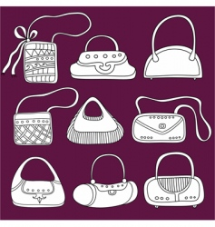 Fashion bags doodles vector