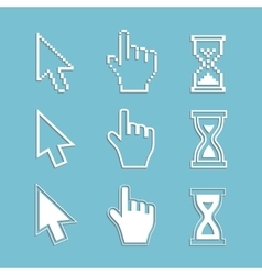 Pixel cursors and outline icons vector