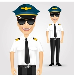 Friendly pilot with sunglasses vector