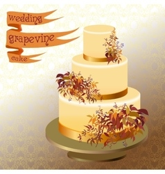 Wedding cake with autumn wild grape golden design vector
