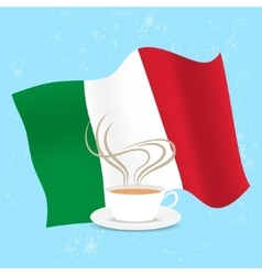 Cup of coffee and flag italy vector