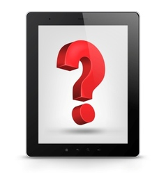 Tablet pc with question mark vector