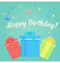 Happy Birthday Greeting Card with gifts and vector image