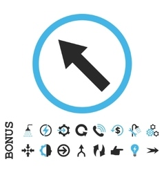 Up-left rounded arrow flat icon with bonus vector