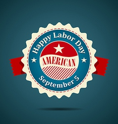 Ribbon labor day american design vector image