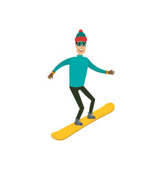 a man boy young person snowboarding in the vector image vector image