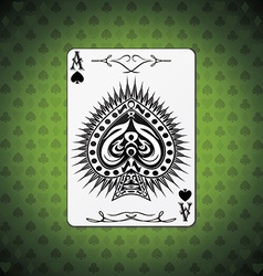 Ace of spades poker cards green background vector image