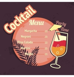 Alcohol cocktails drink menu card template vector image vector image