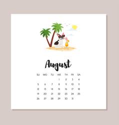 august dog 2018 year calendar vector image vector image