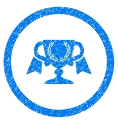 Award cup rounded icon rubber stamp vector