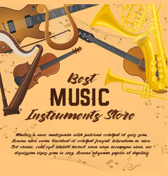 banner of music instruments for shop or store vector image