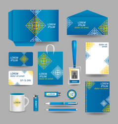 Blue ornamental business stationery template vector