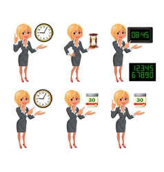 Cartoon blond business woman deadline set vector