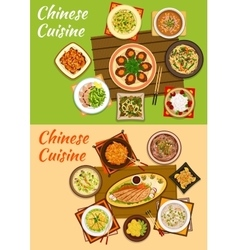 Chinese cuisine icon of signature oriental dishes vector image vector image