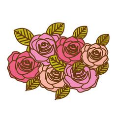 Colorful realistic roses bouquet decorative design vector