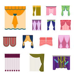Different kinds of curtains cartoon icons in set vector
