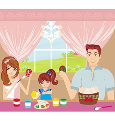 Family painting easter eggs vector