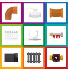 flat icon sanitary set of flange pipe pipework vector image vector image