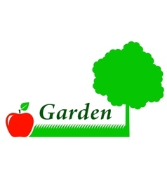 garden background with tree grass and fruit vector image vector image