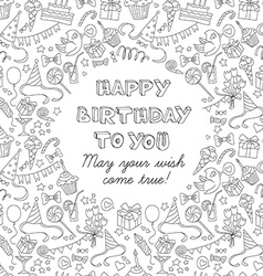 Happy birthday party greeting card with hand drawn vector image