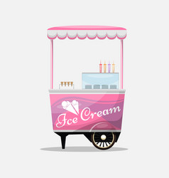 ice cream cart kiosk on wheels retailers dairy vector image