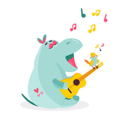 Image of a funny hippo playing ukulele vector