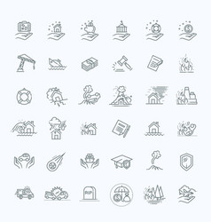 Insurance icon thin line set support services vector