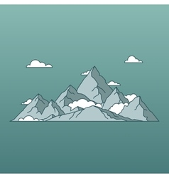 Linear mountains landscape minimal flat style vector