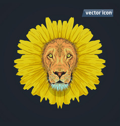 Lion like dandelion vector