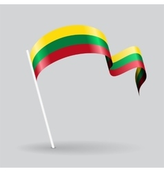 Lithuanian wavy flag vector image vector image