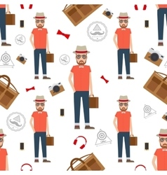 Man hipster seamless pattern vector image