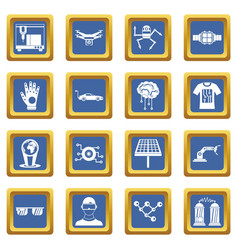 New technologies icons set blue vector