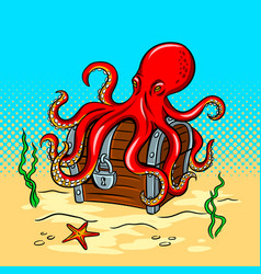 Octopus guards treasure chest pop art vector