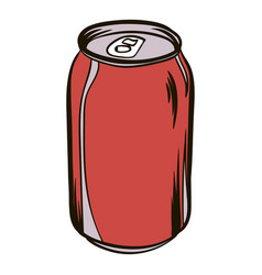 Red aluminum can icon cartoon vector