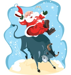Santa Claus on rodeo vector image vector image