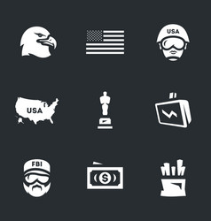 Set of america icons vector