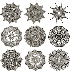set of black and white mandalas vector image vector image