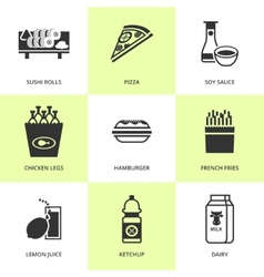 Set of black grocery and food icons vector