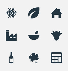 Set of simple agricultural icons elements vector