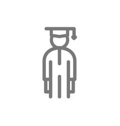 simple student man in graduation cap line icon vector image